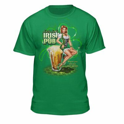 Teelocity ST. Patrick's Day Pub Pin Up Girl Feeling Lucky T-Shirt Kelly Green