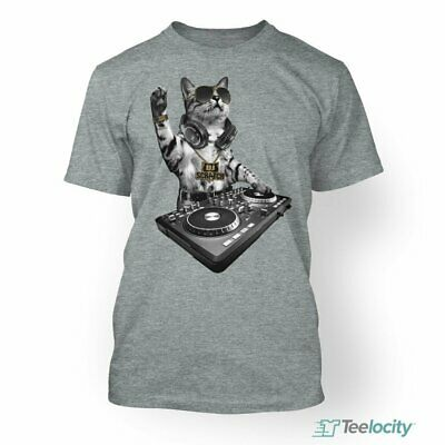 Teelocity DJ Scratch Cat Spinning On The Turntable Funny Fitted T-Shirt Small