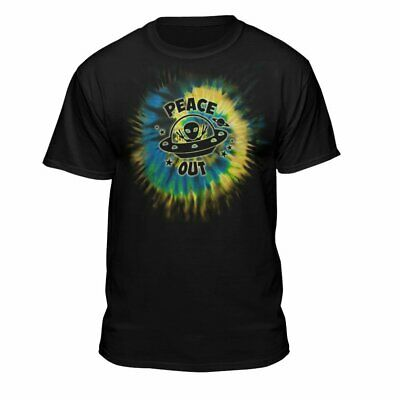 Teelocity Alien Peace Out Cool Funny Cute UFO Lover Birthday Gift T-Shirt Black