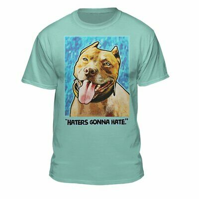 Teelocity Haters Gonna Hate Men's Pit Bull T-Shirt Mint