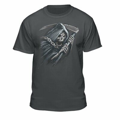 Teelocity Grim Reaper in Chains Exile Skull Death T-Shirt Charcoal