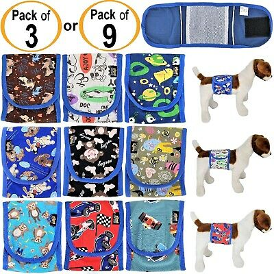 PACK of 3 or 9 Dog Diapers Male BELLY BAND Wrap Reusable Washable For SMALL Pet
