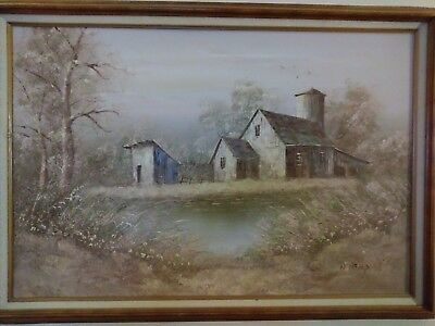 Antique William Newport oil on canvas-farmhouse barn-1920's-Beautiful and clean
