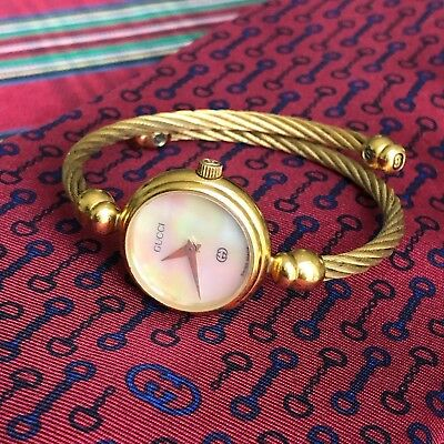 9268b9a2c01 vintage GUCCI gold plated women s watch w  mother of pearl face Swiss made