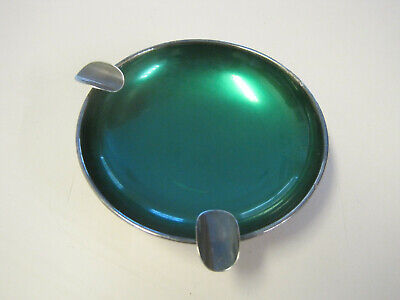 Hugo Grun Denmark vintage Silver Plate enamel ash tray, marked HGr, Green