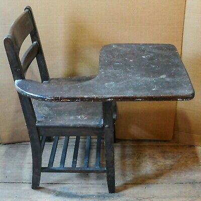 Vintage Antique Student Wood Chair with Attached Desk