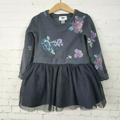 f4d13d665 Old Navy Girls Dress Size 4T Sweatshirt Long Sleeve Top Tulle Party Skirt  Floral
