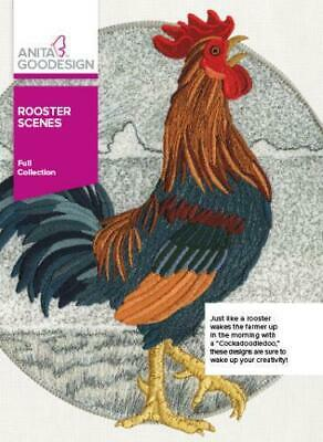 Anita Goodesign Rooster Scenes Embroidery Machine CD January 2016 NEW 304AGHD