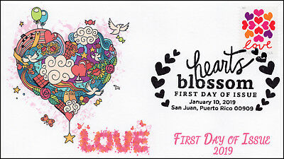 19-004, 2019, Hearts Blossom, Pictorial  Postmark, First Day Cover, Love
