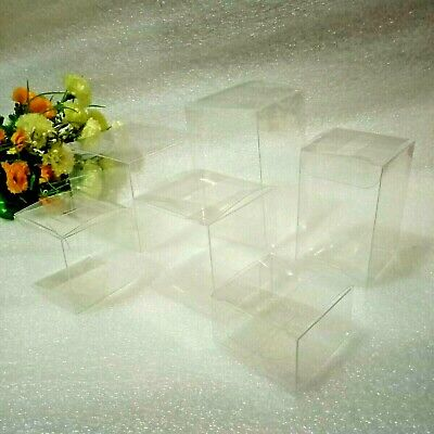 100/200 Clear PVC Boxes 5x5 cm Base Wedding Party Macaroon Favor Candy Gift