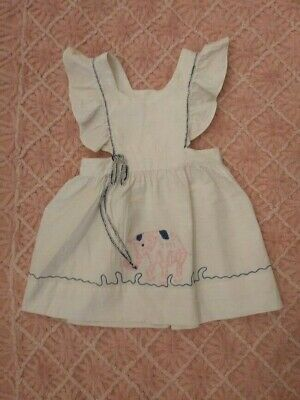 Vintage Childs 40s Girls White Pinafore Dress with Pink Embroidered Elephant