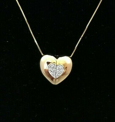 Two Sided Pendant ---14K Two Tone Gold Floating Heart Pendant with Diamonds