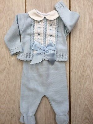 Baby Boys Girls 6-9 Mths Romany Spanish 2 Piece Knitted blue summer Set/Outfit*