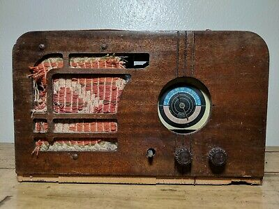 Vintage Airline Tube Radio Wooden 1930s Art Deco Poor Condition for Parts Decor