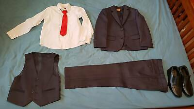 Boys' full suite - Grey and shoes (for weddings, formals ...)