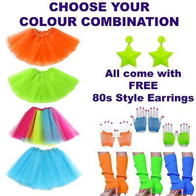 1980s Tutu Costumes | Womens Hen Party Leg Warmers, Gloves & 80s Fluro Earrings