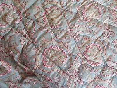 Antique Vintage French Quilt Paisley Blue Burgundy with Drop sides Valance.