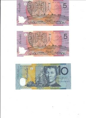 Two $5.00 & One $10.00 Polymer Bank Notes In Fine Condition.