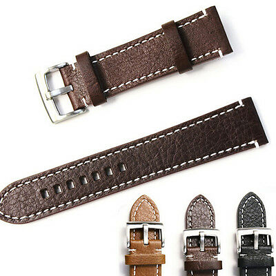 Leather Watch Strap Band Mens Stainless Steel*Buckle 18 19 20 21 22MM  Lq