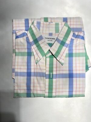 Thom Browne Brooke s Brothers Shirt Blue And Green Plaid Men s Size Medium c3adfeee270e