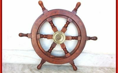 """18""""Nautical Wooden Boat Ship Large Wooden Steering Wheel Nautical Wall Decor"""