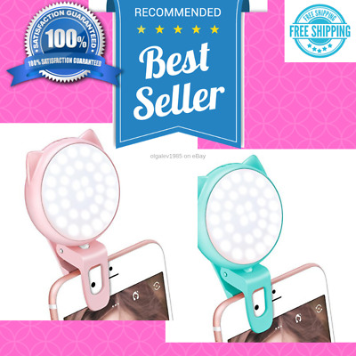 Light Led Selfie Ring Fill Camera Phone Portable Flash Photography Rechargeable