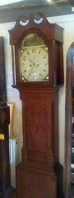 Antique grandfather clock, D Shaw of Leicester, strikes on a bell, painted face