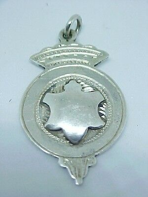 Antique Solid Silver Pocket Watch Chain Fob/medal C1900