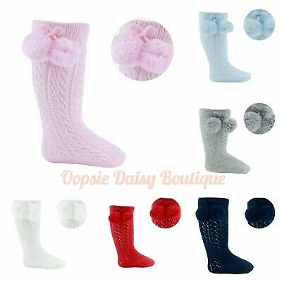 Baby Girls Boys Pelerine Spanish Style Knee High Pom Pom Socks ☆
