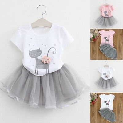 Kids Girls Fashion Cartoon Little Kitten Outfit Top Shirt Dress Tutu Skirt Set