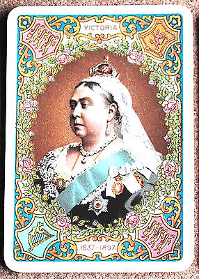 ROYAL-QUEEN VICTORIA DIAMOND JUBILEE #a BLUE-ONE ANTIQUE WIDE SWAP PLAYING CARD