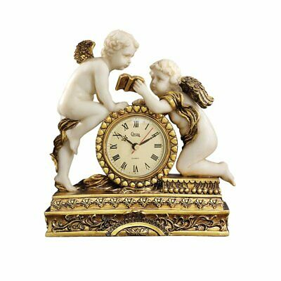 Chateau Carbonne Cherub Mantel Clock Statue 26.5 Cm Polyresin Gold And Ivory