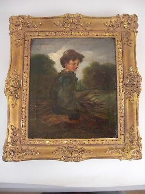 Boy and Faggots-Pastoral Oil Painting-Attributed to Irish Artist George Grattan