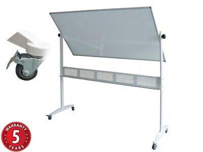 Rapidline Mobile Whiteboard Double Sided Pivoting Steel Stand Locking Casters