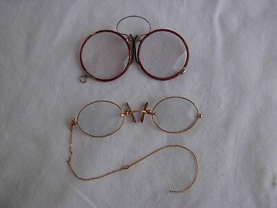 TWO ANTIQUE EYEGLASSES,STOCO GOLDPLATED,FAUX TORTOISE,LATE 19th CENTURY.