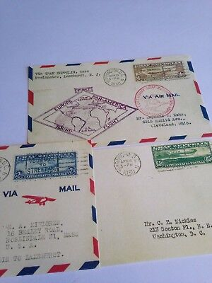 """Graf Zeppelin First Flight Air Mail Post Card Covers C13,14,15 """"Facsimile's"""""""