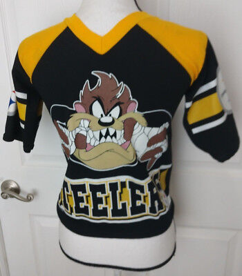 TAZ Vintage 90 s Pittsburgh Steelers Short Sleeve YOUTH Shirt Looney Tunes  Devil 32c713e46