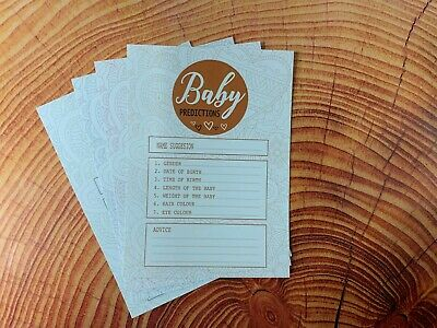 Pack of 25 Baby Shower Prediction & Advice Cards Games New Mum to be Game FM2106