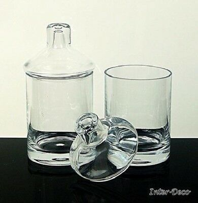 Hand Crafted Clear set of 2 Glass small Bonbon Jar Candy sweet spice sugar bowl