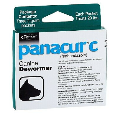 Panacur C Canine Dewormer Dogs 2 Gram Each Packet Treats 20 lbs (3 Packets)