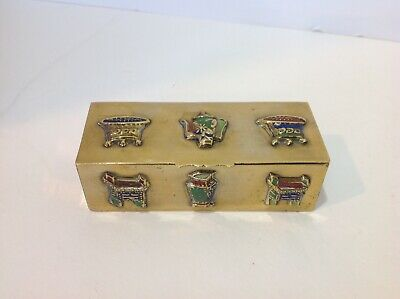 Chinese Brass And Enamel Stamp Box. Marked- Made In China. Antique