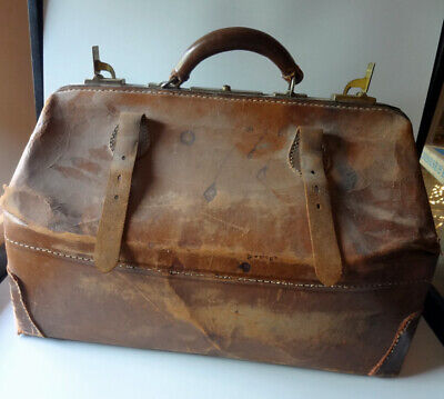 Large Leather Medical Bag Brown Antique Genuine Cowhide Restoration Project!