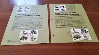 LOT OF 2--US FDC #1764-67 Unofficial & Official Souvenir pages American Trees