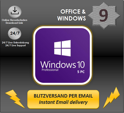 MS Windows 7/8.1/10 (HOME P./PRO/ULTIMATE) 1/2/3/4/5 PC OEM Produktkey per email