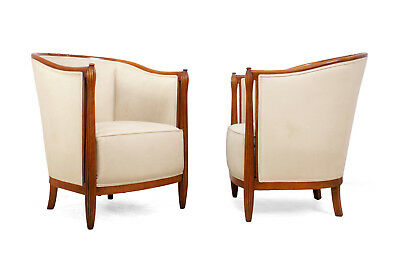 A Pair of French Art Deco Salon Chairs by Paul Folllot c1925