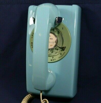 Vtg Bell System Western Electric Wall Mount Rotary Telephone Aqua Blue Teal RARE