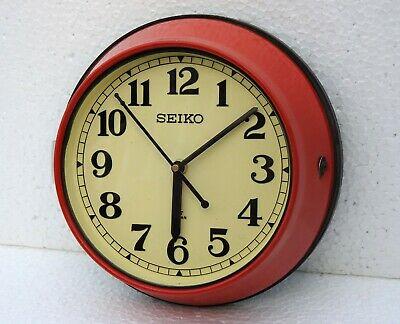 Vintage Red Original Slave Clocks Nautical Maritime Ship Seiko Quartz Japan