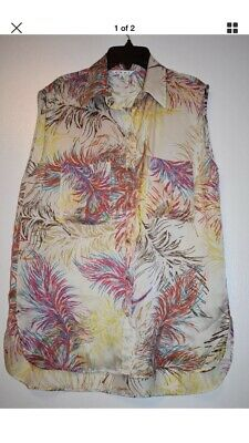 52519d2e26d1aa CABI SILK BLOUSE top feathers size M -  13.00