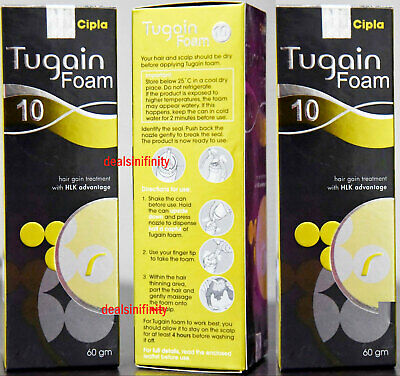 3 x Tugain 10% Foam By Cipla Hair Loss Baldness Regrowth Promoter For Men HLK