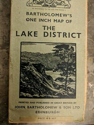 Bartholomew's One Inch Cloth Map of The Lake District